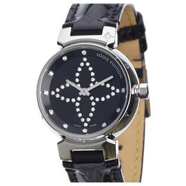 Louis Vuitton-Louis Vuitton Silver Diamond Tambour Forever-Noir,Argenté