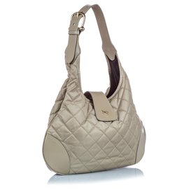 Burberry-Burberry Gray Quilted Nylon Brooke Hobo Bag-Grey