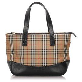 Burberry-Burberry Brown Haymarket Check Canvas Handbag-Brown,Multiple colors,Beige