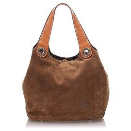 Burberry-Burberry Brown Suede Tote Bag-Brown,Dark brown