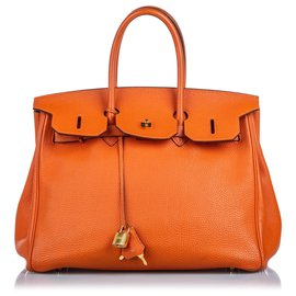 Hermès-Hermes Orange Clemence Birkin 40-Orange