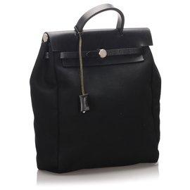 Hermès-Hermes Black Canvas Herbag Backpack-Black