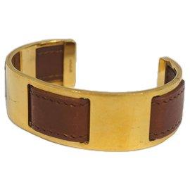Hermès-Bracelet en cuir marron Hermès-Marron,Doré
