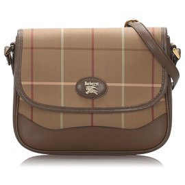 Burberry-Burberry Brown Plaid Cotton Crossbody Bag-Brown,Beige