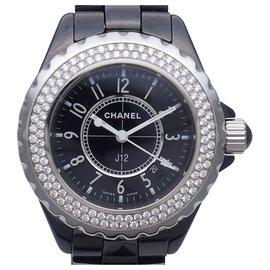 Chanel-Chanel Black Diamond J12 Montre-Noir,Argenté