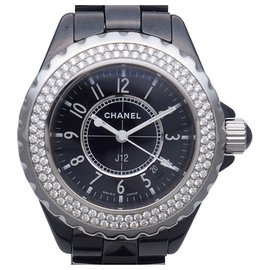 Chanel-Chanel Black Diamond J12 watch-Black,Silvery