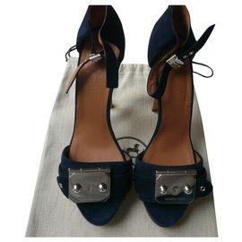 Hermès-HERMES Sandales daim bleu nuit compensées T38,5-Bleu,Bleu foncé