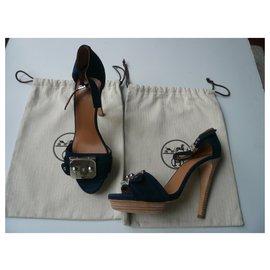 Hermès-HERMES Midnight blue suede wedge sandals T38,5-Blue,Dark blue