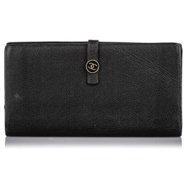 Chanel-Chanel Black Leather Long Wallet-Black
