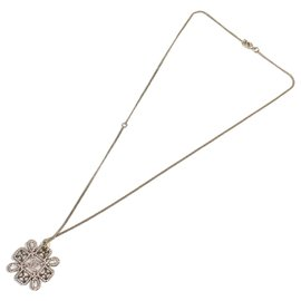 Chanel-Chanel Silver CC Snowflake Necklace-Silvery