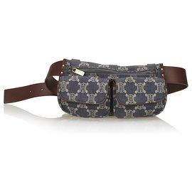 Céline-Celine Blue Denim Macadam Belt Bag-Brown,Blue,Other,Dark brown