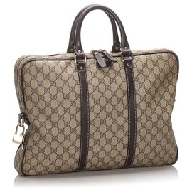 Gucci-Gucci Brown GG Supreme Business Bag-Brown,Beige