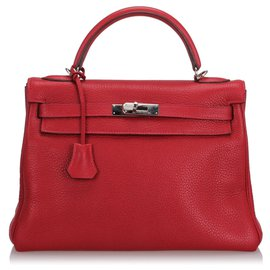 Hermès-Hermes Red Clemence Kelly Retourne 32-Rouge