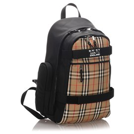 Burberry-Burberry Brown House Check Nevis Canvas Backpack-Brown,Black,Beige