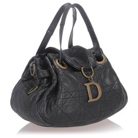 Dior-Sac porté épaule en cuir Cannage noir Dior-Noir