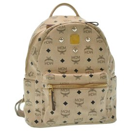 MCM-MCM Leather Backpack-Beige