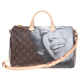 "Louis Vuitton-Louis Vuitton Speedy 35 shoulder strap in new Monogram canvas customized ""Marilyn Monroe"" and numbered #59 by artist PatBo-Brown"