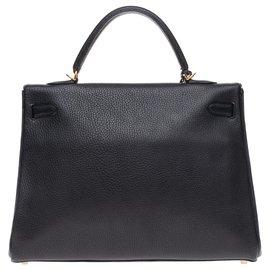 Hermès-Hermès Kelly 35 bandoulière en cuir Togo noir, garniture en métal plaqué or, en très bon état !-Noir