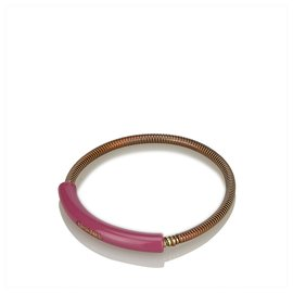 Chanel-Chanel Pink CC Gold-Tone Bangle-Pink,Golden
