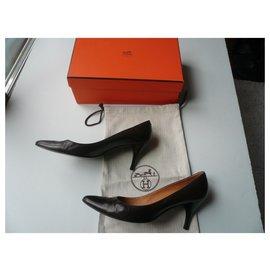 Hermès-HERMES Escarpins cuir marron T41-Marron
