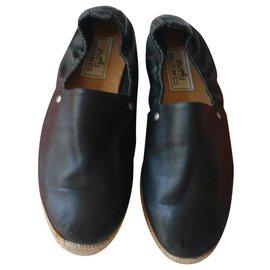 Hermès-HERMES Espadrilles black leather T41-Black
