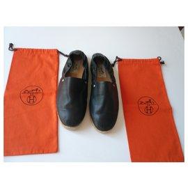 Hermès-HERMES Espadrilles cuir noir T41-Noir
