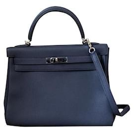 Hermès-Hermes Kelly 32 retornou azul noite azul-Azul marinho
