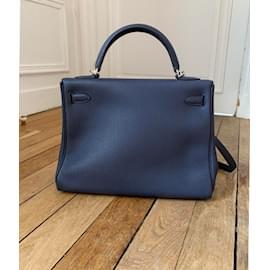 Hermès-Hermès Kelly 32 retourné Togo bleu nuit-Bleu Marine