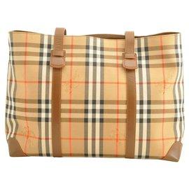 Burberry-Burberry Nova Check Canvas Tote Bag-Beige