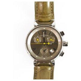 Louis Vuitton-LOUIS VUITTON Q1122 Sable Medium Tambour Chronograph Quartz Watch 34mm femmes-Argenté