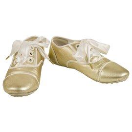 Louis Vuitton-Louis Vuitton Light Gold Super Soft Leather Sneakers with Ribbon Laces 38 Shoes-Golden