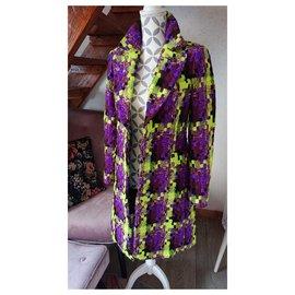 Balmain-Manteaux, Vêtements d'extérieur-Multicolore