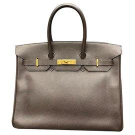 Hermès-Hermès - Birkin 35 Sac à main Vache Liegee Ebene-Marron