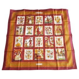Hermès-Silk scarves-Multiple colors,Dark red