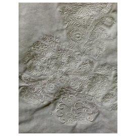 Burberry-Embroidered linen skirt-White