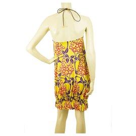 Dsquared2-DSquared Floral dos ouvert V dos nu haut jaune, mini robe violette et rouge sz S-Multicolore