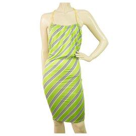 Dsquared2-DSquared Stripped Exposed Back en vert, blanc, Mini robe d'été bleue et jaune - SzS-Multicolore