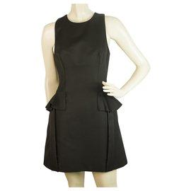 Alexander Mcqueen-Alexander McQueen Black Ruffle Details Black Mini dress size 40 , Superb-Black