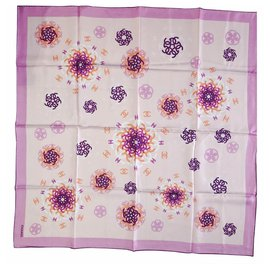 Chanel-Chanel scarf-Pink,White,Purple