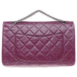 Chanel-Superb Chanel handbag 2.55 Plum quilted leather reissue-Prune
