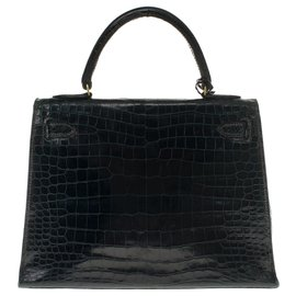 Hermès-Hermès Kelly 28 en crocodile Porosus vert sapin customisé avec bandoulière, poignée,tirette et clochette en croco noir-Noir,Vert foncé