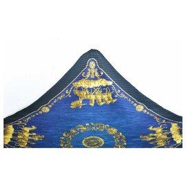 "Hermès-Hermès Pleated scarf ""COSMOS""-Blue"