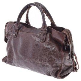 Balenciaga-Balenciaga City Leather Bag-Brown