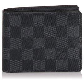 Louis Vuitton-Portefeuille Louis Vuitton Black Damier Graphite Florin-Noir,Gris