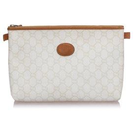 Gucci-Pochette blanche Gucci GG Plus-Marron,Blanc