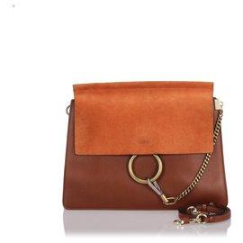 Chloé-Chloe Brown Leather Faye Shoulder Bag-Brown