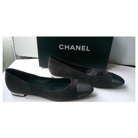 Chanel-CHANEL New leather and satin ballet flats Dark gray T40 Neuves-Grey