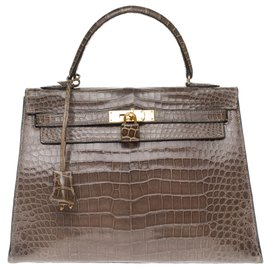 Hermès-Superb and rare Kelly 32 Elephant Gray Porosus Crocodile, gold-plated metal trim!-Grey