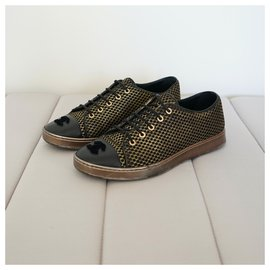 Chanel-Sneakers-Black,Golden