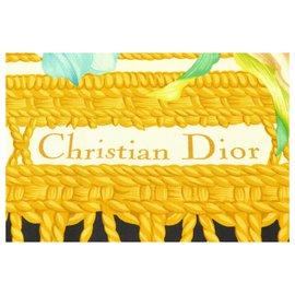 Dior-Cape portefeuille en châle écharpe en soie Dior-Blanc